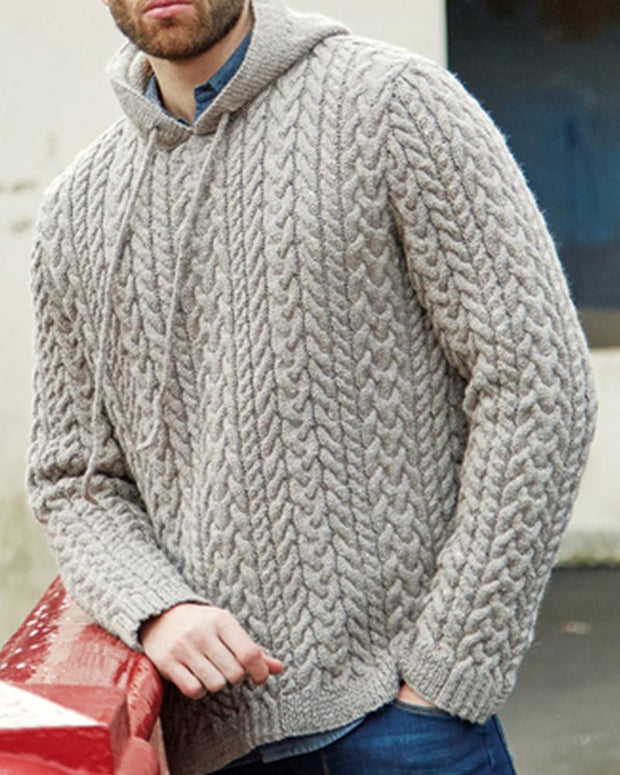 Solid Color Cable Knitting Long Sleeve Hooded Sweater