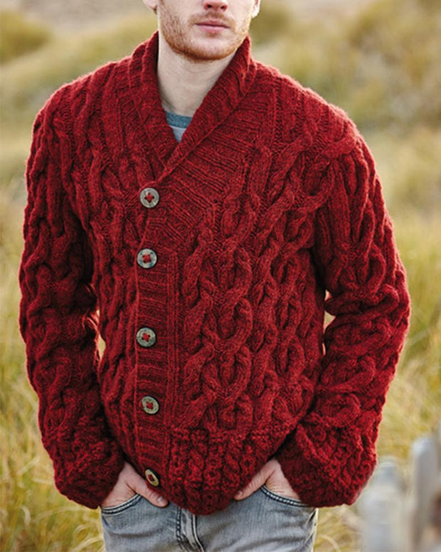 Solid Color Cable Knitting Button Long Sleeve Cardigans
