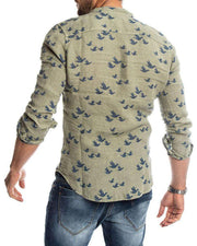 Swan Print Button-Down Shirt
