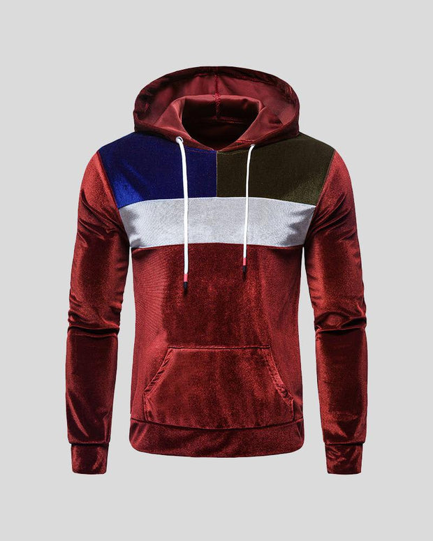 Color Block Long Sleeve Velvet Hooded Sweatshirt