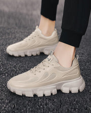 Solid Stitching Lace-up Round-toe Sneakers