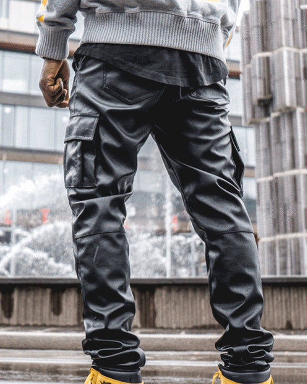 Solid Fitting PU Hip Hop Pants