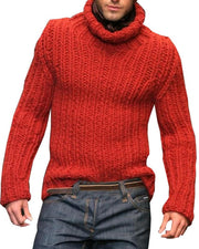 Solid Long Sleeve Fitting Knitted Sweater