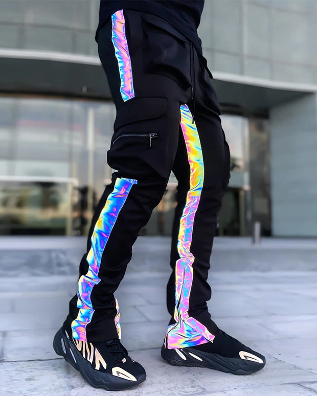 Shinny Color Patchwork Drawstring Pants