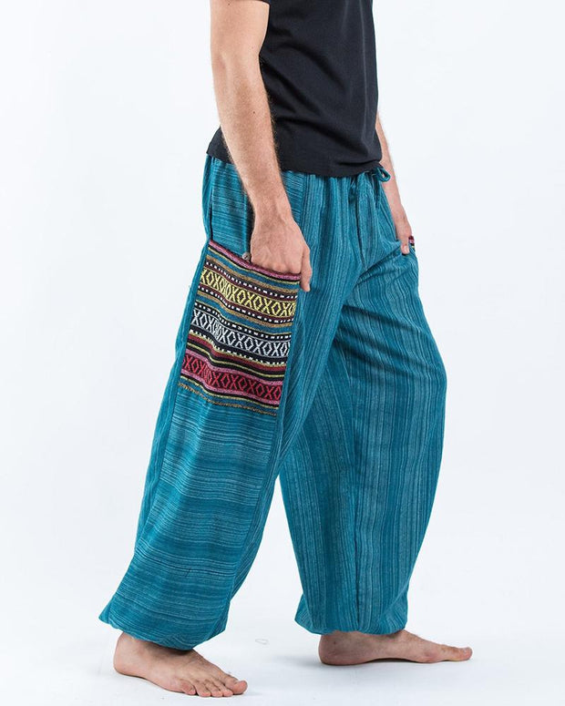 Colorblock Ethnic Loose Drawstring Pants