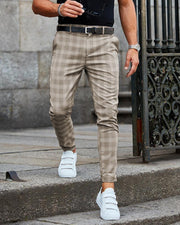 Casual Grid Skinny Long Pants
