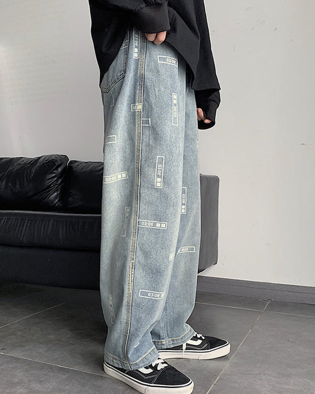 Letter Print Loose Wide Leg Denim Pants