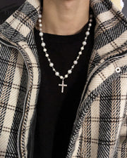 Metallic Cross Pandent Pearl Necklace