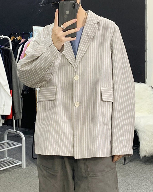 Striped Single Buckle Loose Long Sleeve Suit Jacket