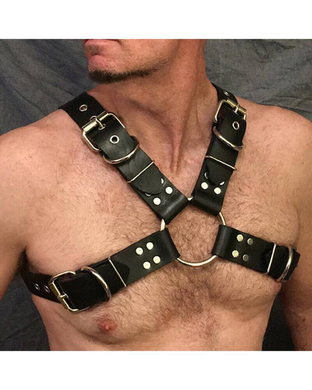 Solid Color Studded Buckle Harness Belt