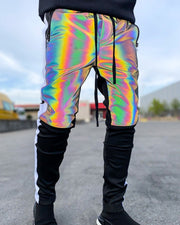 Shinny Color Patchwork Feet Pants