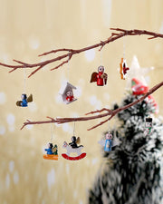 48 Small Wooden Ornaments Christmas Tree Decorate