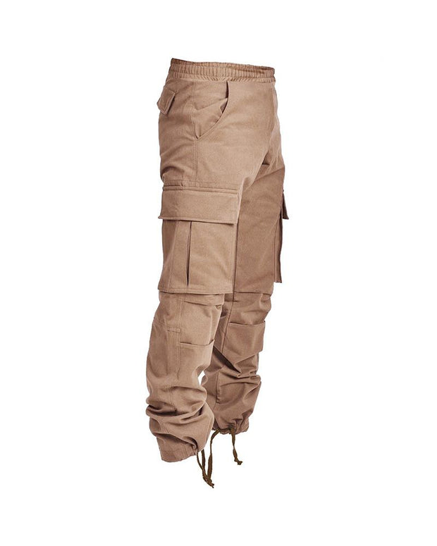 Solid Loose Ruched Cargo Pants With Pockets