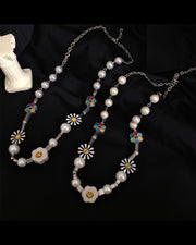 Hip-hop Style Daisy&Smiley&Pearl Necklace