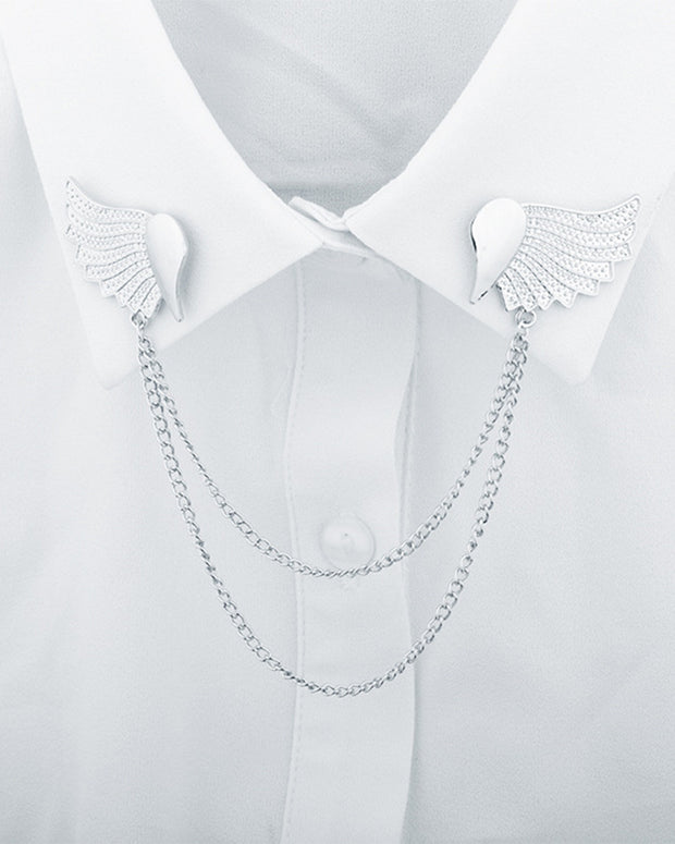 Metallic Wings With Tassel Collar Brooches