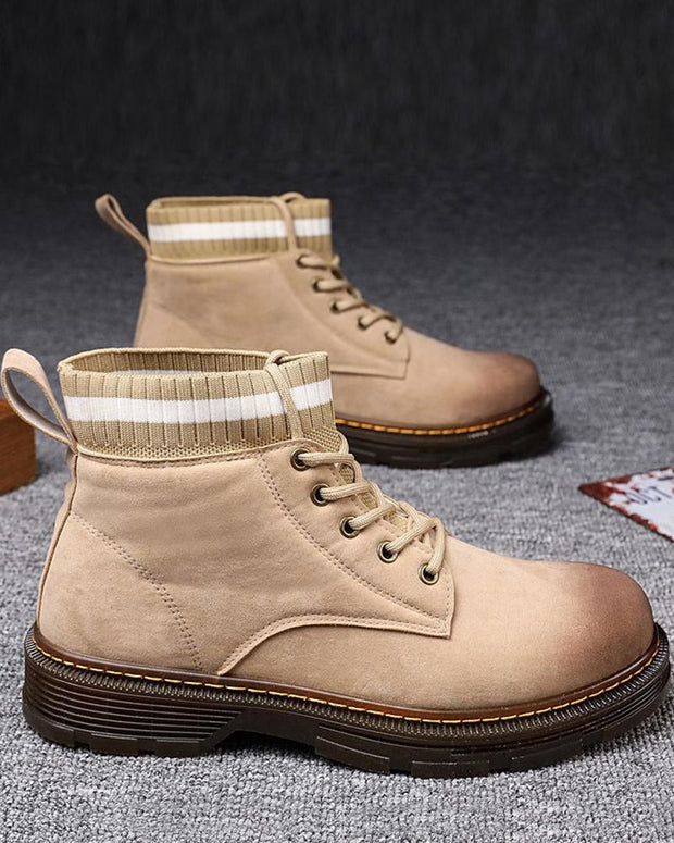 Solid Color Border Lace-up High Top Martins Boots