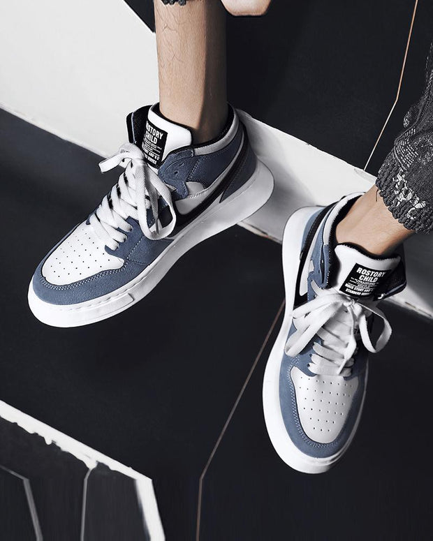 Lace-up Color Block Round-toe Sneakers