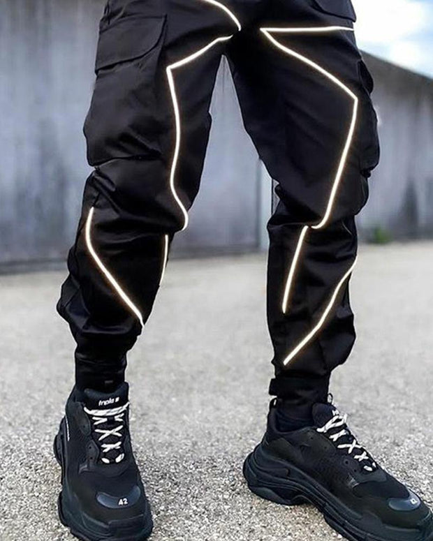 Color Border Loose Cargo Pants