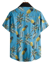 Pineapple Print Short Sleeve Loose Button-up Shirts