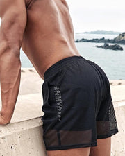 Sports Solid Color Mesh Short Pants