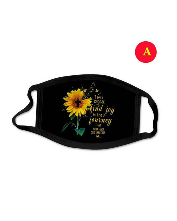 Sunflower Print Earloop Face Mask