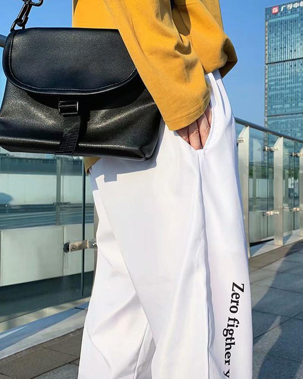 Letter Printing Gradient Loose Pencil Pants