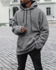 Solid Fluffy Long Sleeve Hoodies Sweatshirts