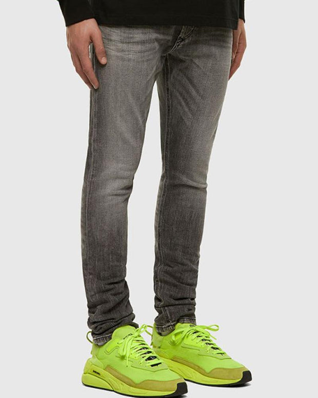 Solid Skinny Washing Effect Denim Pants