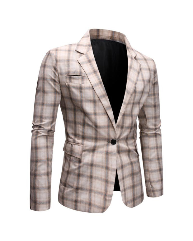 Casual Plaid Long Sleeve Blazer