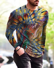 Abstract Patterns Long Sleeve Skinny T-shirts