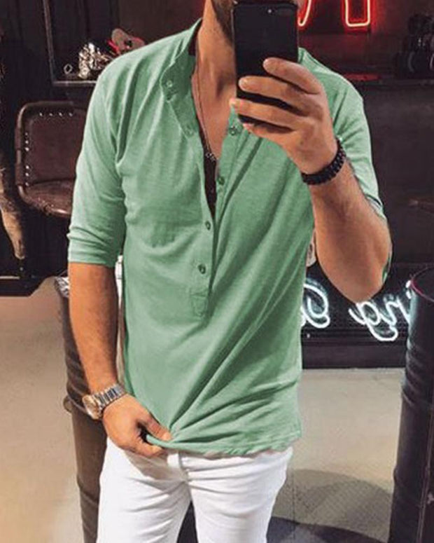 Solid Half Sleeve Button T-Shirt