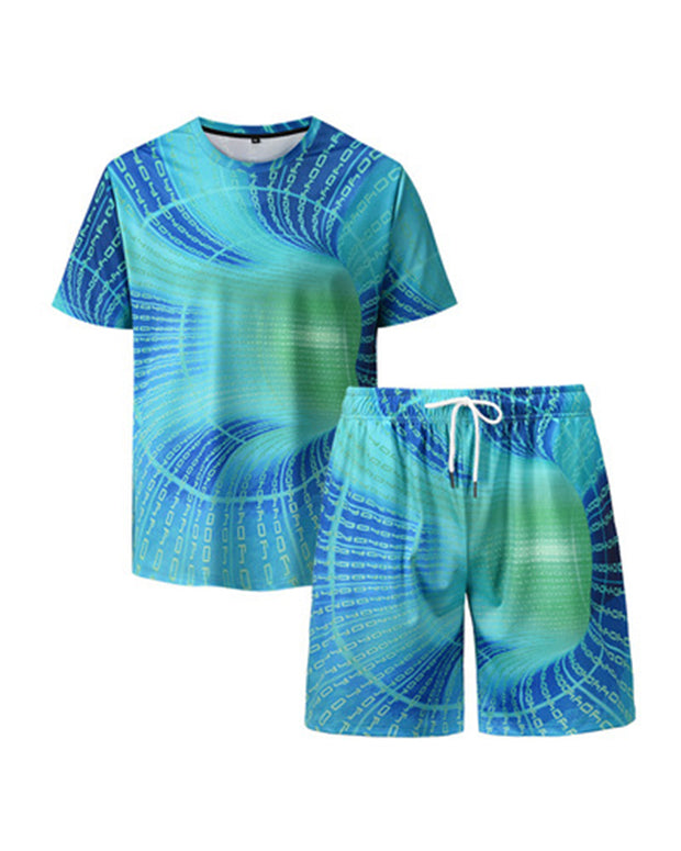 Tie Dye Short Sleeve T-shirt With Shorts Suit Sets