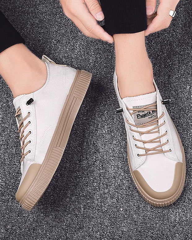Colorblock Round-toe Flat Lace-up Sneakers
