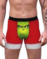 Christmas Patterns Grinch Printing Skinny Boxer Shorts
