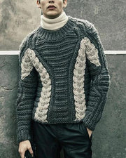 Color Block Cable Knitting Long Sleeve Sweater