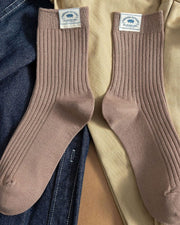 Solid Color Splicing Label Cotton Socks