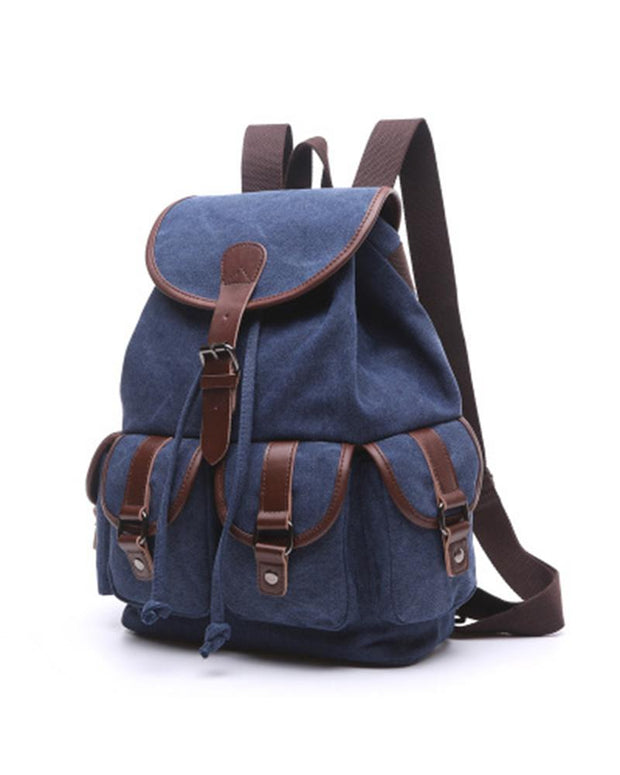 Colorblock Pu Patchwork Strap Outdoor Backpack