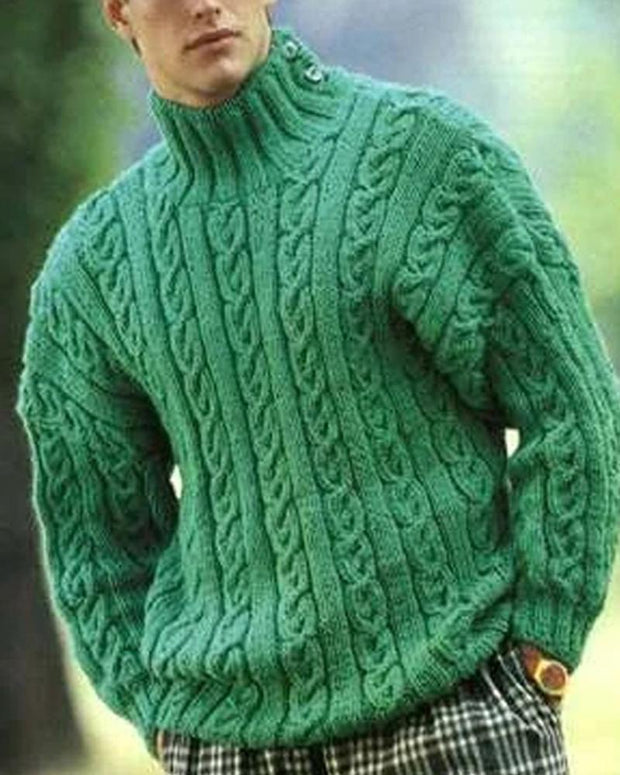 Solid Color Cable Knitting Long Sleeve Sweater