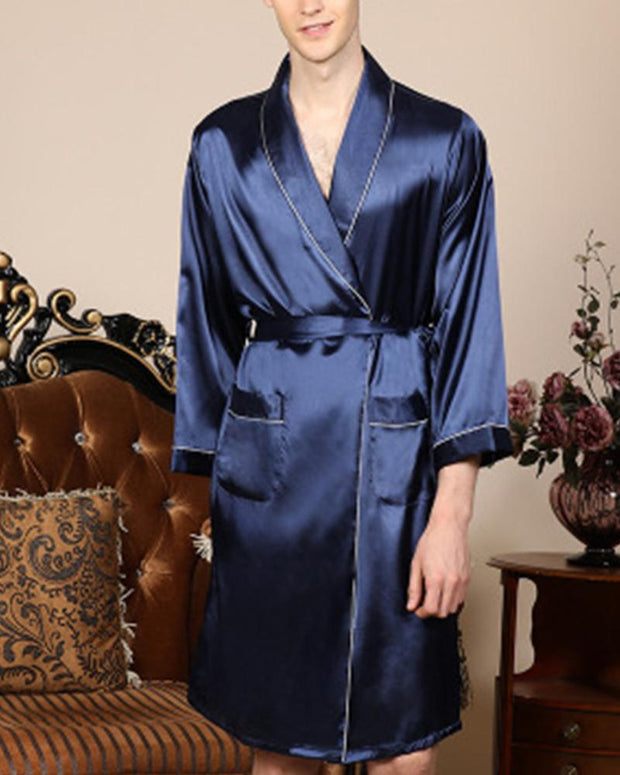Solid Long Sleeve Lace-up Waist Coats Bathrobes