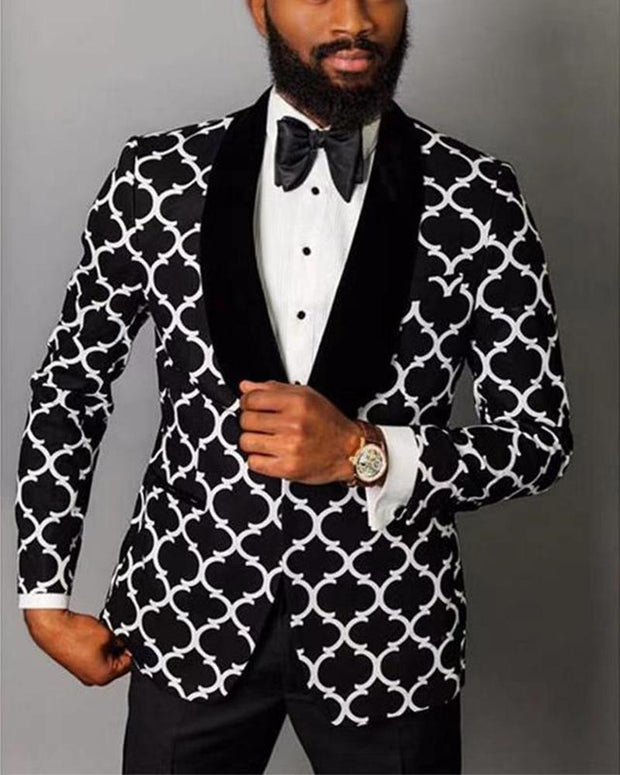Patterns Printing Long Sleeve Single Buckle Blazer