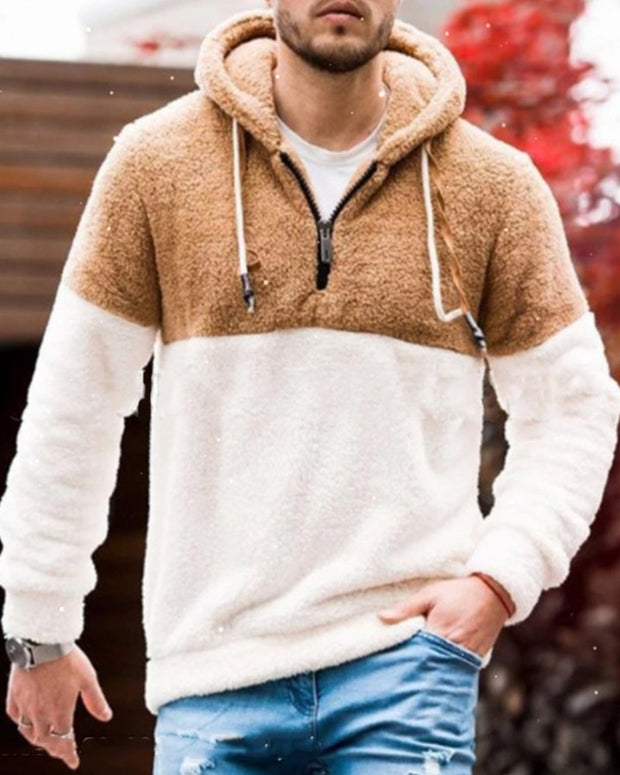 Color Block Long Sleeve Hooded Fleece Sweatshirt