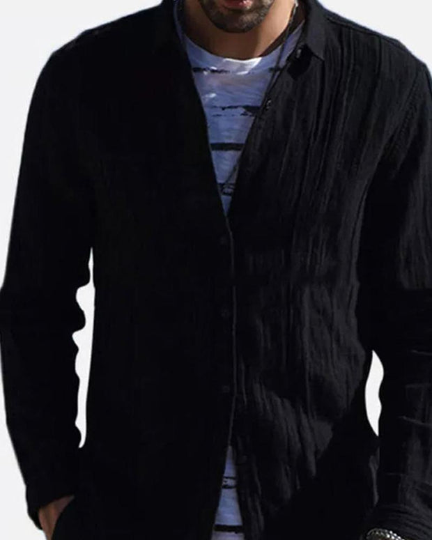 Cardigan Solid Color Long Sleeve Shirt