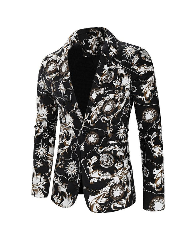 Retro Patterns Printing Long Sleeve Blazer