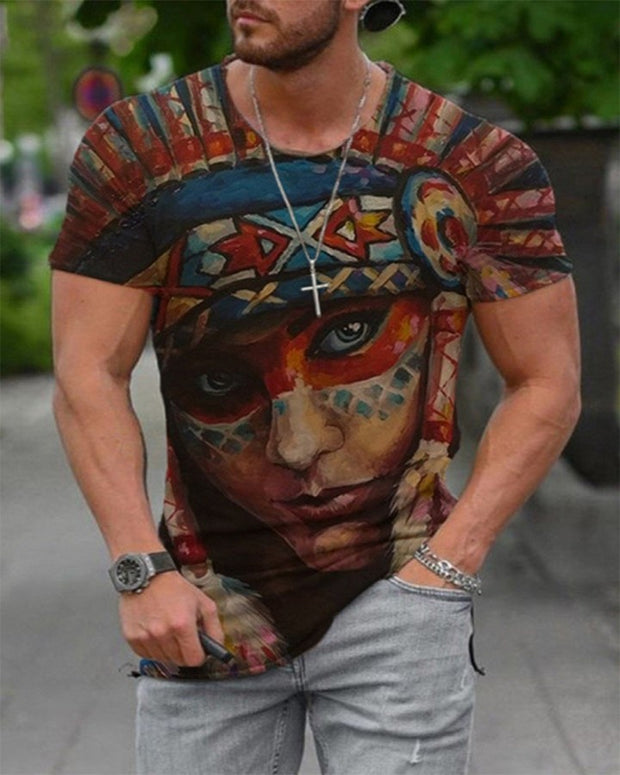 Figure Print Short Sleeve Loose T-shirts