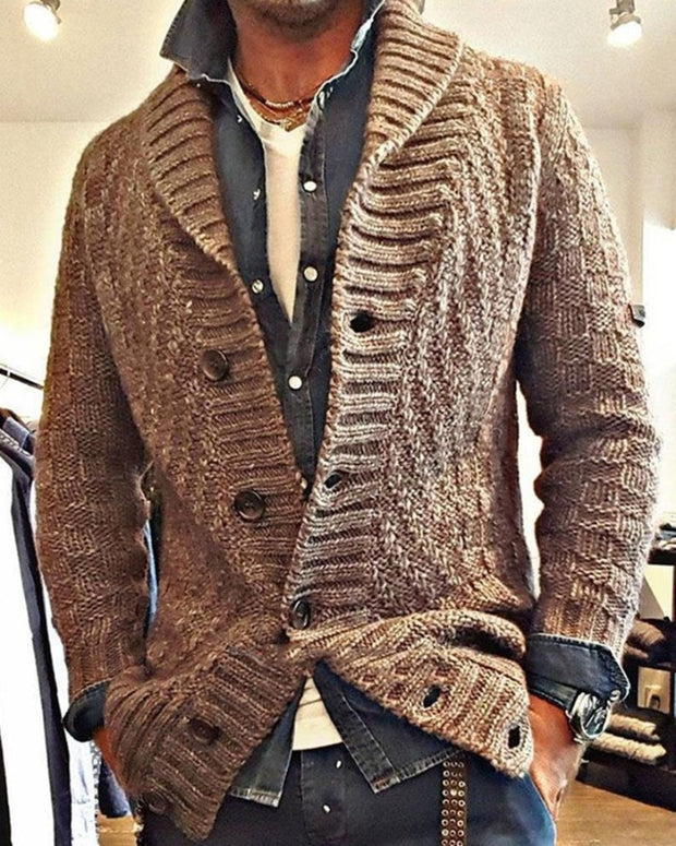 Solid Color Knit Ribbing Long Sleeve Cardigan