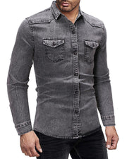 Solid Long Sleeve Loose Western Shirts