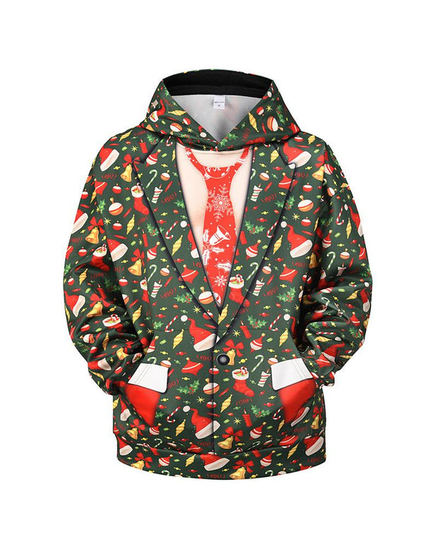 3D Christmas Print Long Sleeve Loose Hoodies Sweatshirts