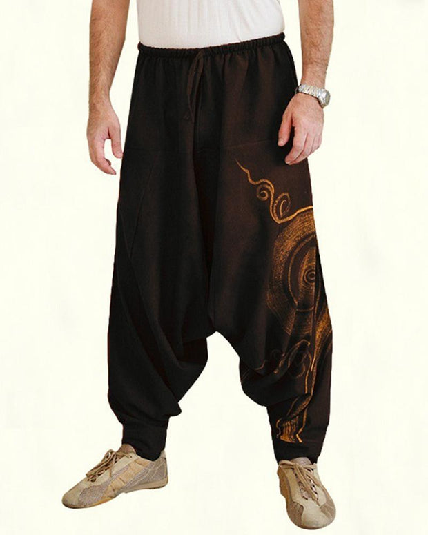 Print Wide-leg Harem Pants