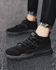 Solid Color Lace-up Round-toe High Top Sneakers