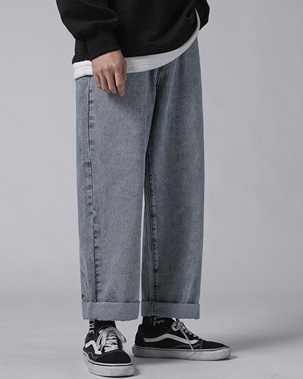 Smiley Printing Long Straight Jean Pants